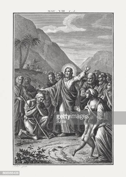jesus heals a man with leprosy (matthew 8), published c.1850 - leprosy stock illustrations
