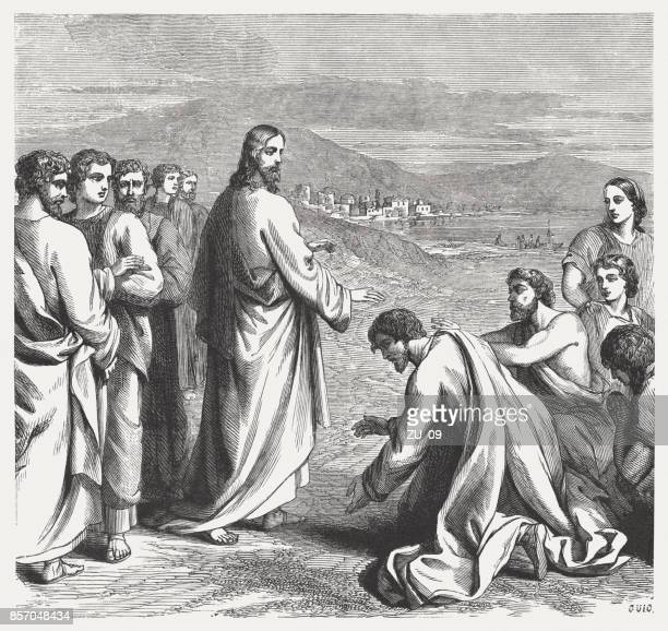 jesus heals the sick and the possessed (mark 3, 7-12) - jesus christ stock illustrations, clip art, cartoons, & icons