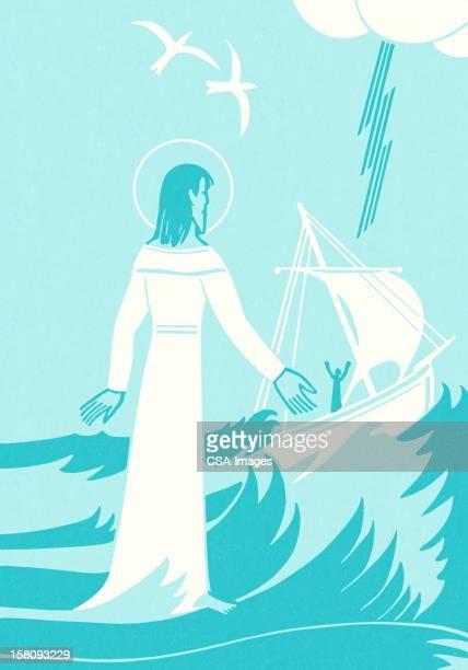 jesus helping man in boat - jesus calming the storm stock illustrations