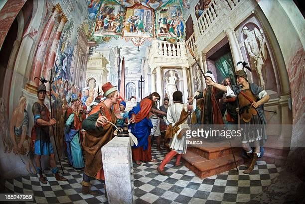 stockillustraties, clipart, cartoons en iconen met jesus in court with pilate - kapel