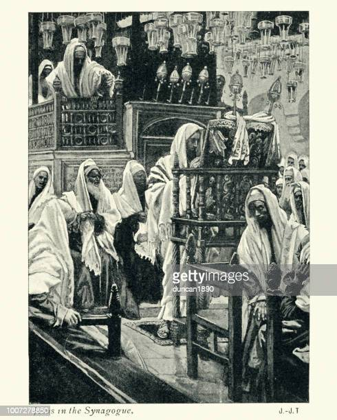jesus in the synagogue - hebrew script stock illustrations, clip art, cartoons, & icons