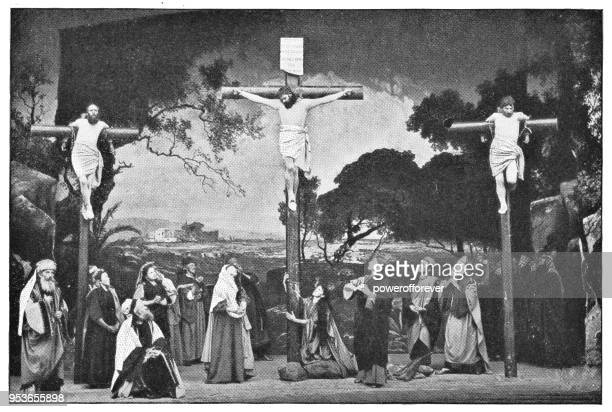 jesus is crucified at passion play in oberammergau, germany - 19th century - actress stock illustrations