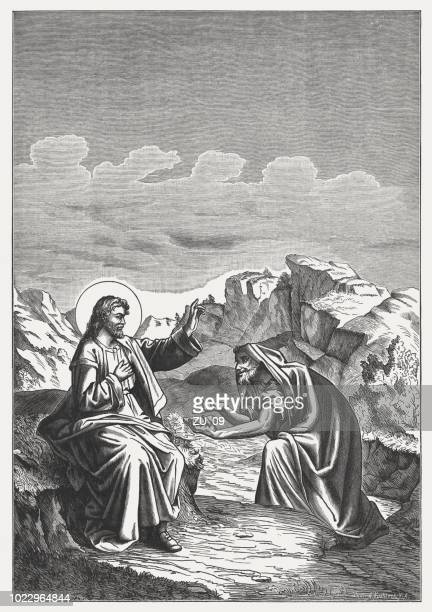 jesus is tempted by satan (mathew 4,3-4), woodcut, published 1888 - temptation stock illustrations, clip art, cartoons, & icons
