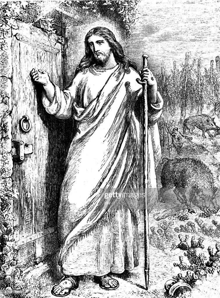 Jesus knocking at the door stock illustration getty images jesus knocking at the door stock illustration altavistaventures Gallery