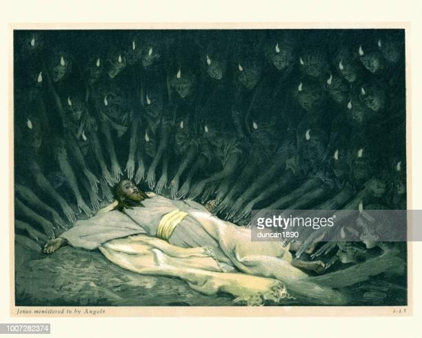 illustrazioni stock, clip art, cartoni animati e icone di tendenza di jesus ministered to by angels - gesù cristo