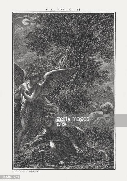 jesus on the mount of olives (luke 22), published c.1850 - holy week stock illustrations, clip art, cartoons, & icons