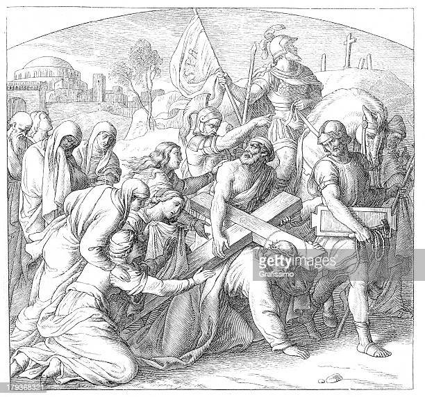 jesus on the way to crucifixion carrying cross - stations of the cross stock illustrations