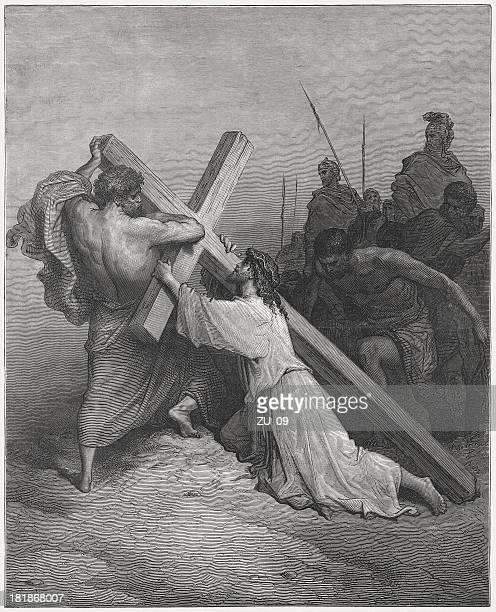 jesus on the way to golgotha, by gustave doré - stations of the cross stock illustrations
