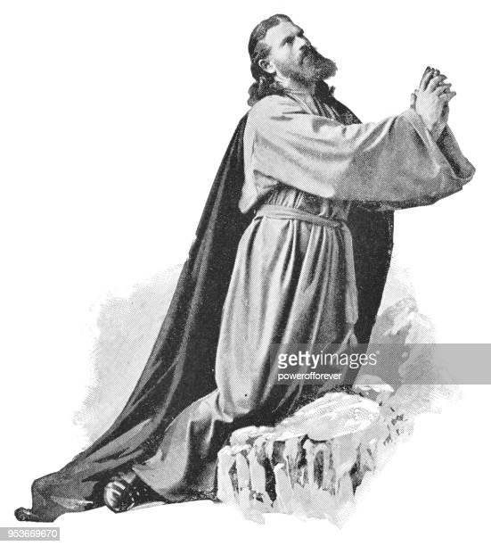 jesus praying at gethsemane during passion play in oberammergau, germany - 19th century - actor stock illustrations, clip art, cartoons, & icons