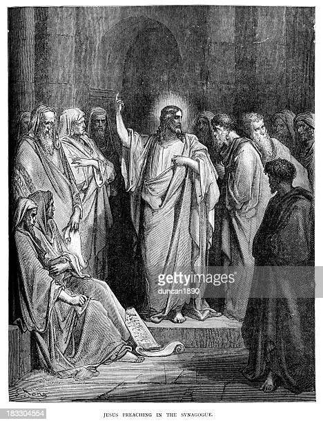 jesus preaching in the synagogue - jesus christ stock illustrations, clip art, cartoons, & icons
