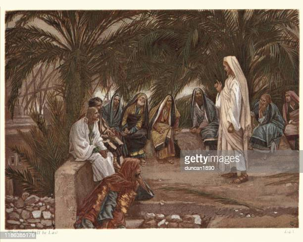 jesus preaching, the first shall be last - new testament stock illustrations