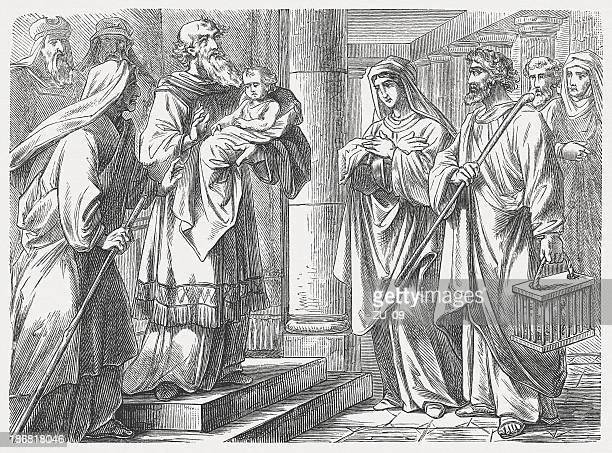 jesus' presentation at the temple (luke 2), published in 1877 - new testament stock illustrations
