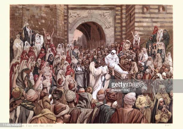jesus erhebt einen witwen-sohch, ich sage euch, entstehen - james tissot stock-grafiken, -clipart, -cartoons und -symbole