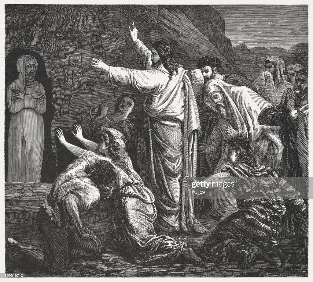 Jesus Raises Lazarus (John 11, 44), wood engraving, published 1886 : Stock Illustration