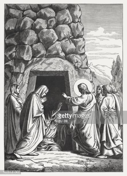 jesus raises lazarus (john 11, 44), wood engraving, published 1888 - jesus tomb stock illustrations