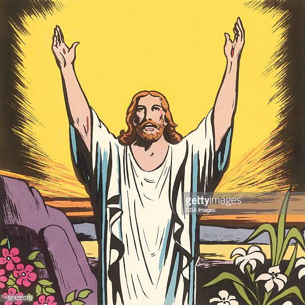 jesus raising his arms - jesus christ stock illustrations, clip art, cartoons, & icons