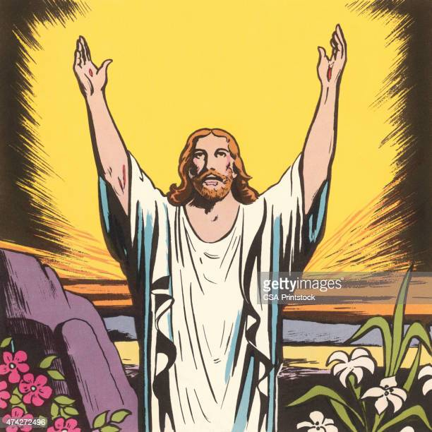 jesus strecke die arme - jesus resurrection stock-grafiken, -clipart, -cartoons und -symbole