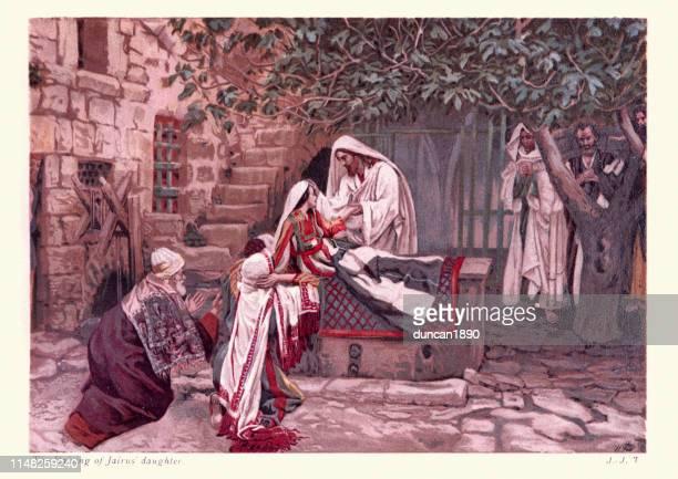 jesus erweckt jairus tochter von den toten - james tissot stock-grafiken, -clipart, -cartoons und -symbole