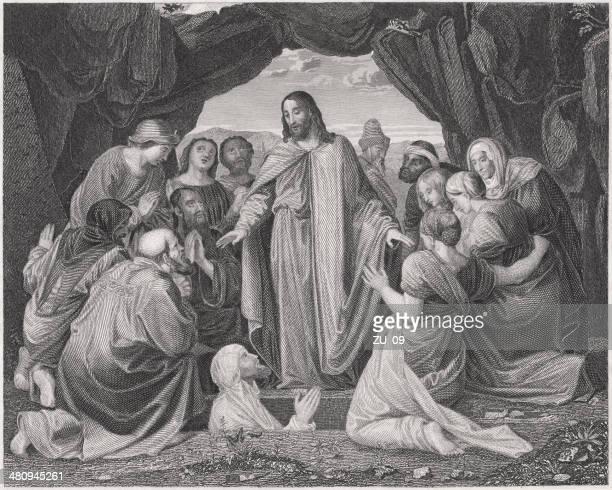 jesus raising lazarus from the dead (john 11), published 1836 - jesus tomb stock illustrations