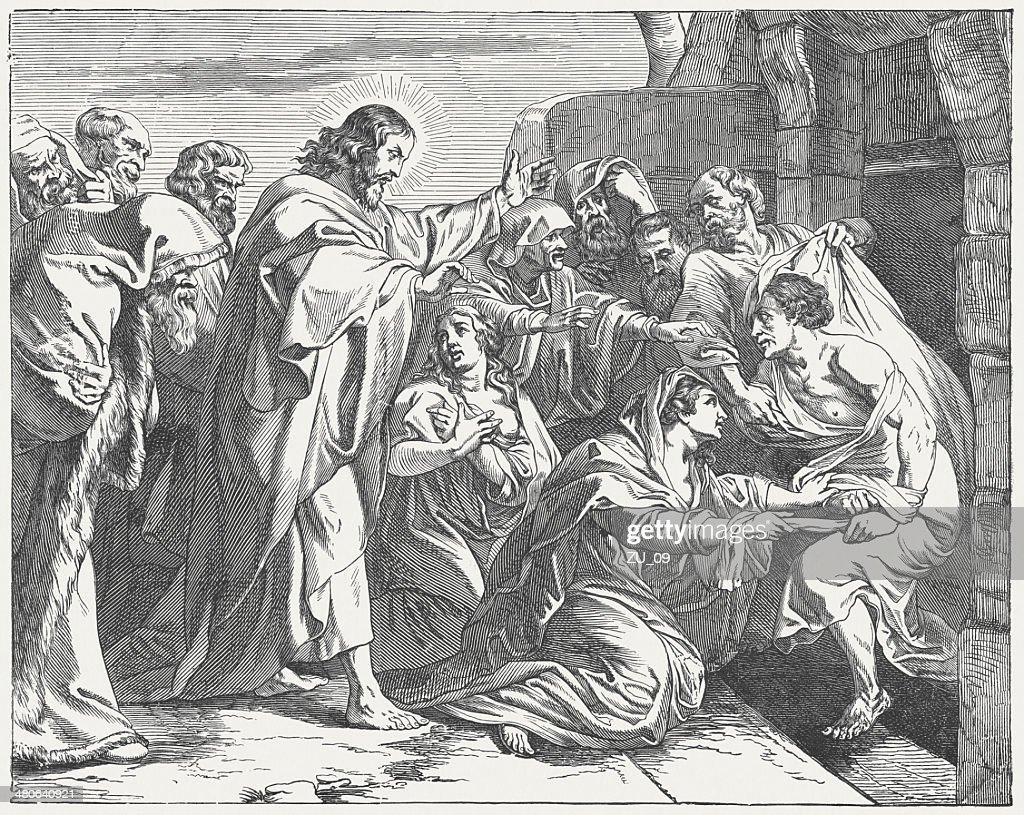 Jesus Raising Lazarus from the Dead (John 11), published 1877 : stock illustration