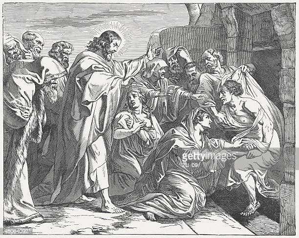 jesus raising lazarus from the dead (john 11), published 1877 - jesus tomb stock illustrations