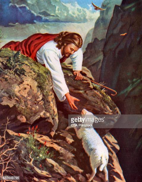 jesus reaching for a lost sheep - jesus christ stock illustrations, clip art, cartoons, & icons