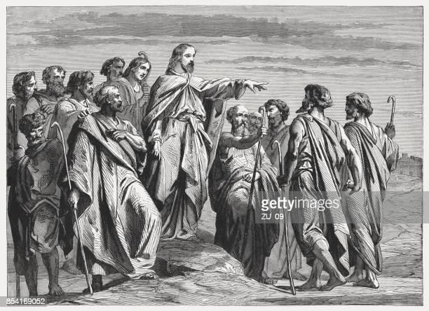 jesus sends out the twelve apostles (matthew 10), published 1886 - sentando stock illustrations