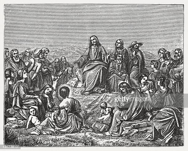 jesus' sermon on the mount (matthew 5) - preacher stock illustrations