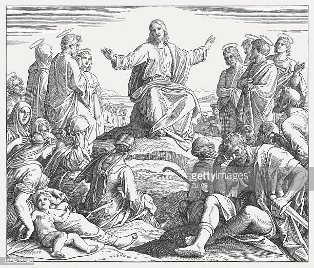 ilustrações de stock, clip art, desenhos animados e ícones de jesus'sermon na montanha, madeira, publicada em 1860 (kit 1 - jesus cristo