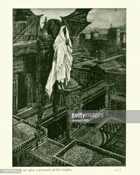 jesus setzte auf einen höhepunkt des tempels - james tissot stock-grafiken, -clipart, -cartoons und -symbole