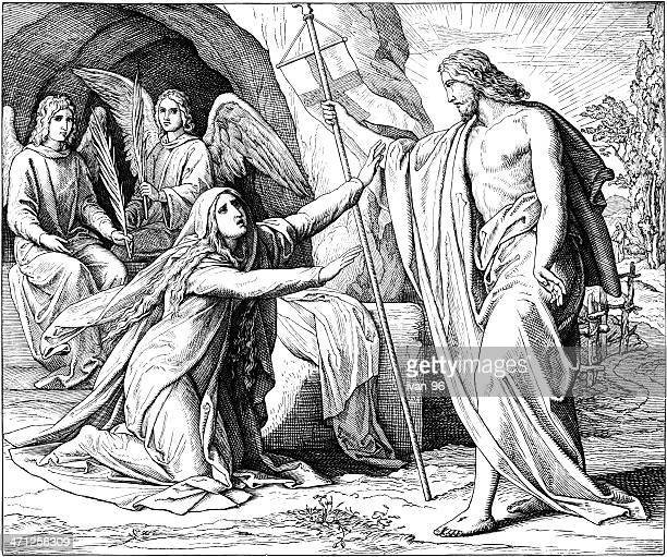 jesus shows himself to mary - jesus tomb stock illustrations