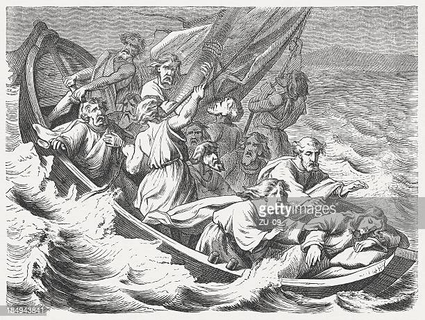 jesus sleeping in the storm (mark 4, 35-41), published 1877 - new testament stock illustrations