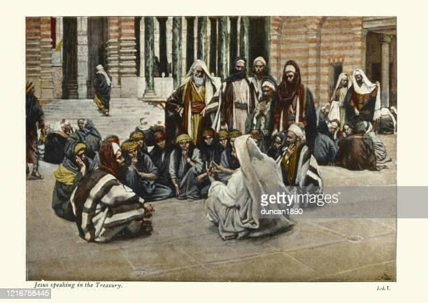 jesus speaking in the treasury - new testament stock illustrations