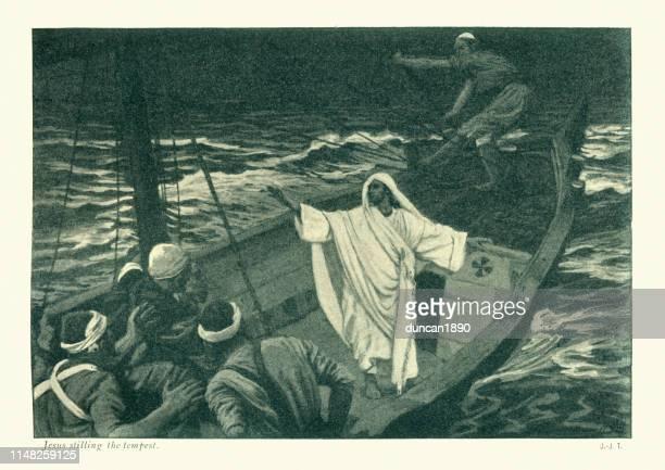 jesus stilling the tempest - jesus calming the storm stock illustrations