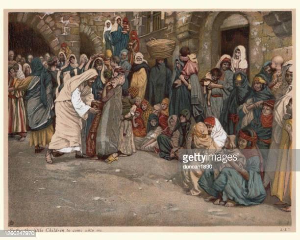 jesus, suffer the little children to come unto me - new testament stock illustrations
