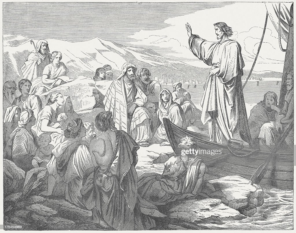 Jesus teaches from a boat to the people, published c.1880 : stock illustration