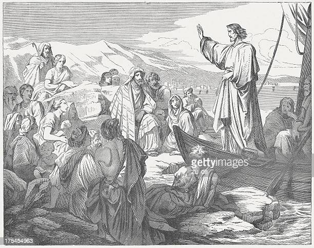 jesus teaches from a boat to the people, published c.1880 - new testament stock illustrations