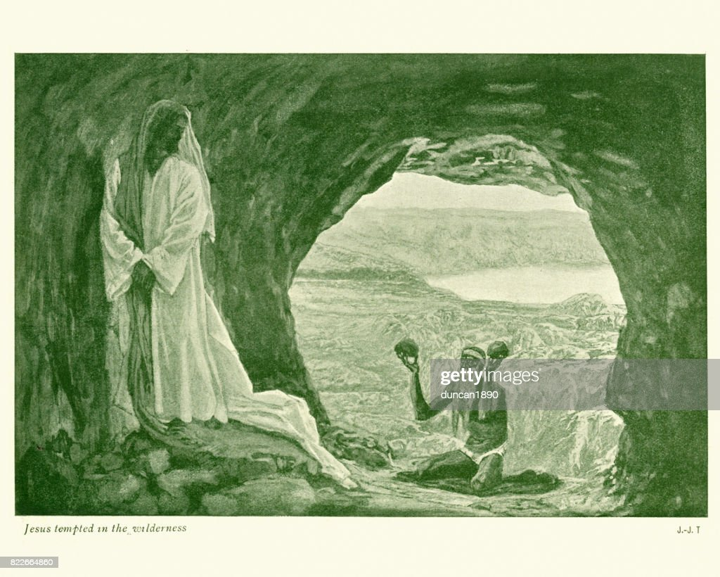 Jesus tempted in the Wilderness : stock illustration