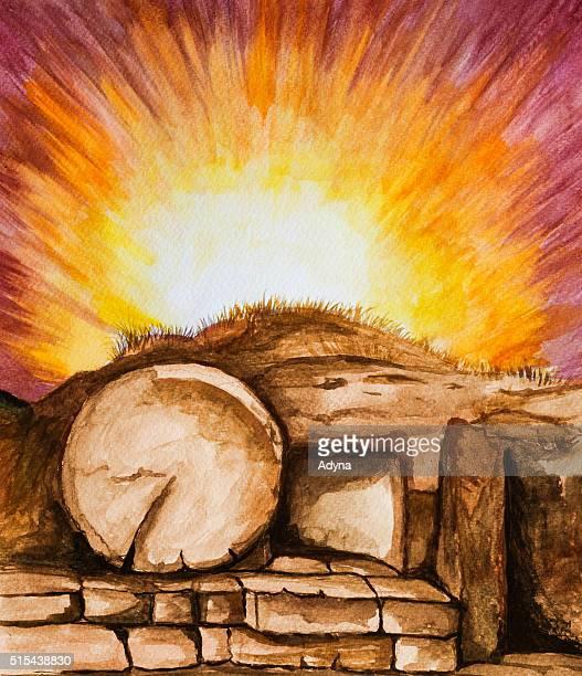 jesus tomb - resurrection religion stock illustrations, clip art, cartoons, & icons
