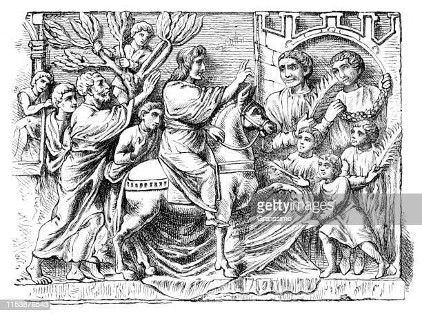 jesus triumphal entry into jerusalem israel - palm sunday stock illustrations