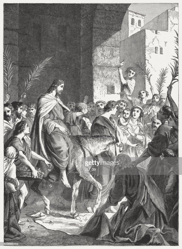 Jesus' Triumphal Entry into Jerusalem (John 12), published in 1886 : stock illustration