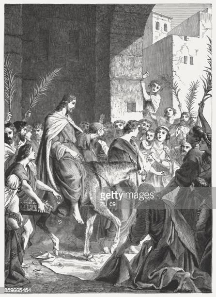 jesus' triumphal entry into jerusalem (john 12), published in 1886 - donkey stock illustrations, clip art, cartoons, & icons