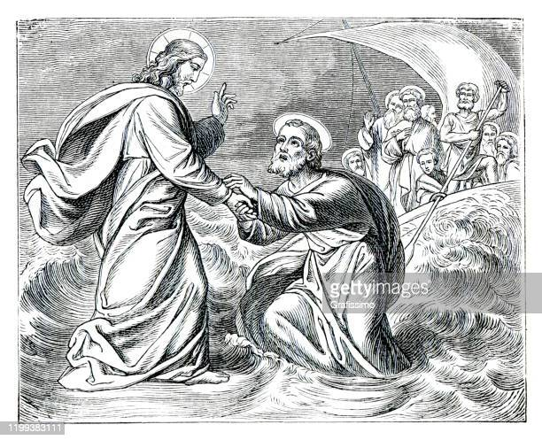jesus walking on water helping peter the apostle - biblical event stock illustrations