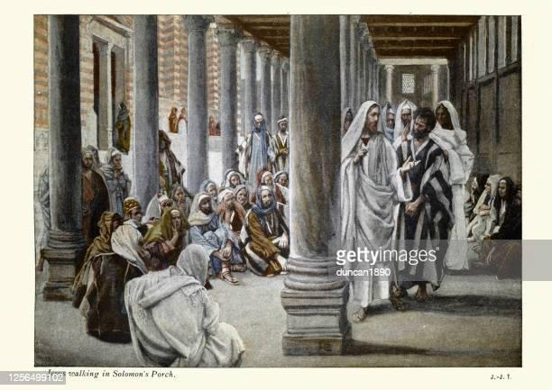 jesus walks in the portico of solomon, new testament art - new testament stock illustrations
