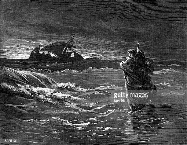 jesus walks on the sea - gustave dore stock illustrations, clip art, cartoons, & icons