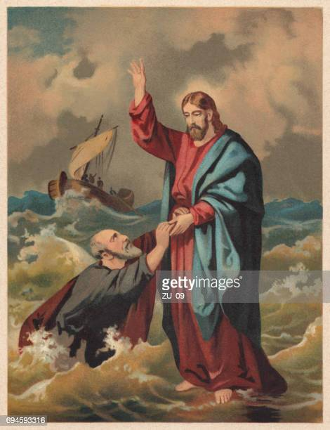 jesus walks on the water (matthew 14), chromolithograph, published 1886 - jesus christ stock illustrations, clip art, cartoons, & icons