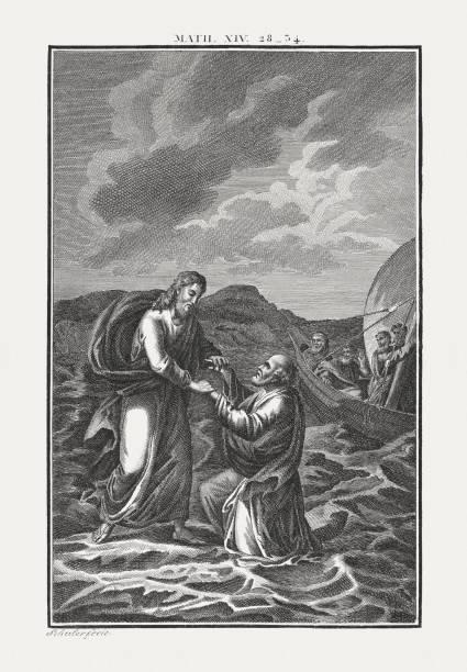 jesus walks on the water (matthew 14), published c. 1850 - jesus walking on the water stock illustrations