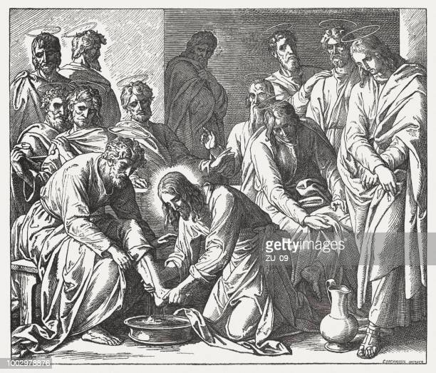 Jesus Washes His Disciples' Feet (John 13,1-20), woodcut, published 1890