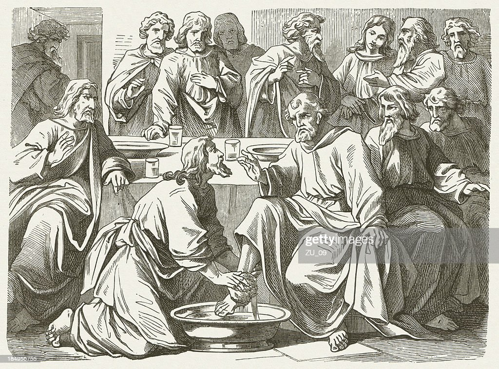 Jesus washing the Disciples' Feet (John, 13) : stock illustration