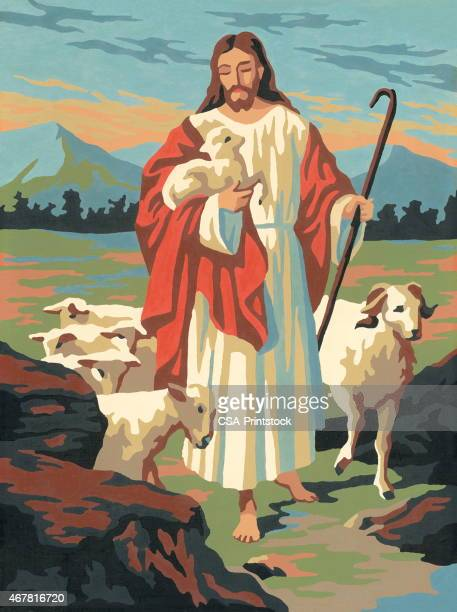 jesus with a flock of sheep - jesus christ stock illustrations, clip art, cartoons, & icons